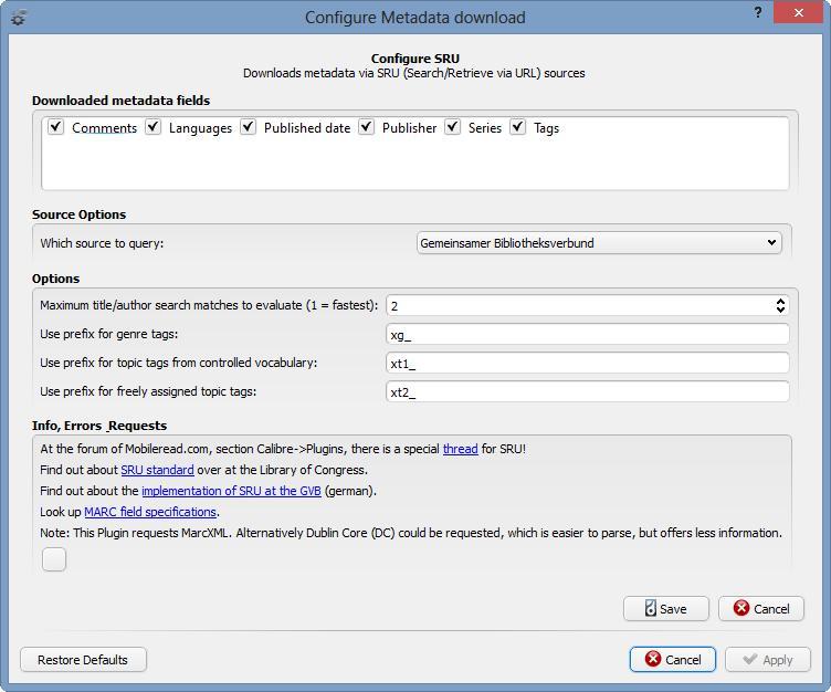 Metadata Source Plugin] SRU - Library of Congress & GBV (ger