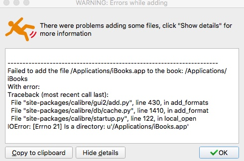 Calibre error trying to add iBook - MobileRead Forums
